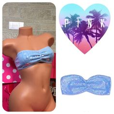 LOVE PINK Blue Sequin lace Bandeau Nwt. Never worn. Sz small it's a Blue color and has sequins that look blue and green. Lace back. ️SUGGESTED USER❤️ Have pets (3 Cats) may not get every single piece of hair from clothing SMOKE FREE HOME SHIPPING VARIES DUE TO WORK NO TRADES NO PP ABSOLUTELY NO LOWBALLING/ABUSING OFFERS DRAMA FREE & RUDE FREE CLOSET  PLEASE DONT START ANYTHING     OR YOU WILL BE BLOCKED PINK Victoria's Secret Intimates & Sleepwear Bandeaus