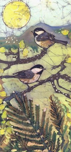 Bird art - Janet Searfoss batiks: Batik is one of my favorite art forms to look at. lol, would never have the patience to create. Silk Painting, Painting & Drawing, Art Aquarelle, Batik Art, Mellow Yellow, Art Design, Art Plastique, Bird Art, Fabric Art