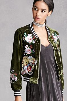 Velvet bomber jacket featuring floral and tiger patches- love!