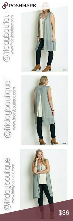 "Trendy Open Back Semi Sheer Tunic/Cardigan Button up open back tunic. Color - Sage Can be worn open as sleeveless cardigan or buttoned as tunic. Length 40 "" Bust 46 "" 65 % Cotton 35 % Polyester Tops Tunics"