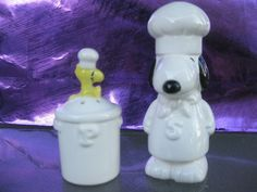 VINTAGE SNOOPY THE CHEF & WOODSTOCK CERAMIC SALT & PEPPER SHAKERS