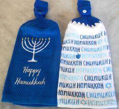 Crochet Top Happy Hanukkah Towel - Handle top Hanukkah Towels - Happy Chanukah Hand Towels - Chanukah Hanging Towels - Hanukkah Granny Towel by CrochetByIlene on Etsy
