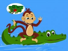 The clever monkey thinks of a plan to outwit the foolish crocodile - the story of the monkey and the crocodile