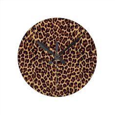 leopard round wall clock