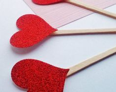 Heart toppers, cupcake toppers, 12, valentine decor, cupcake picks, cake topper, glitter hearts, class party decor, birthday decor