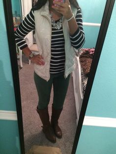 White  puffer vest / quilted vest. Preppy outfits