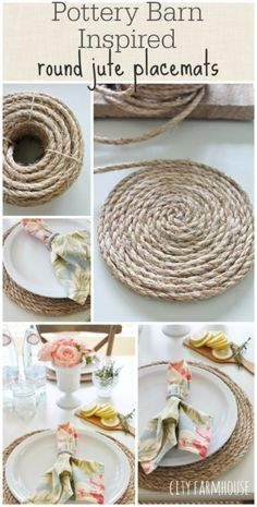 DIY Farmhouse Style Decor Ideas for the Kitchen - Pottery Barn Inspired Round Jute Placemats - Rustic Farm House Ideas for Furniture, Paint Colors, Farm House Decoration for Home Decor in The Kitchen - Wall Art, Rugs, Countertops, Lights and Kitchen Accessories http://diyjoy.com/diy-farmhouse-kitchen Farmhouse Placemats, Farmhouse Kitchen Diy, Farmhouse Coasters, Round Table Placemats, Farmhouse Style Rugs, How To Make Placemats, Kitchen Placemats, Placemat Diy, Round Farmhouse Table