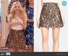 Liv's gold paisley skirt on Liv and Maddie.  Outfit Details: https://wornontv.net/58139/ #LivandMaddie  Buy it here: http://wornon.tv/36482