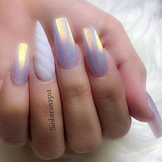Holographic Lavender Nails with a Magical Horn Nails 50 Magical Unicorn Nail Designs You Will Go Crazy For Nail Art Designs, Orange Nail Designs, Crazy Nail Designs, Unicorn Nails Designs, Unicorn Nail Art, Fancy Nails, Love Nails, My Nails, Crazy Nails