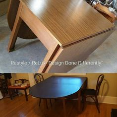 Before and After! Mid Century Modern table. Custom painted with a Beckley Coal #cececaldwellspaints. Love how it's the perfect fit for Carol's home! #restylechicago #reluxvintage https://www.instagram.com/p/BLWsQE4gZwv/