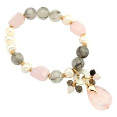 Vika Jewelry - Rose Quartz And Black Rutilated Quartz Bracelet With Freshwater Pearl, Onyx And 18K Gold Plated Details VIKA (Jewelry from Brazil). $89.00. Plate guarantee: 6 months
