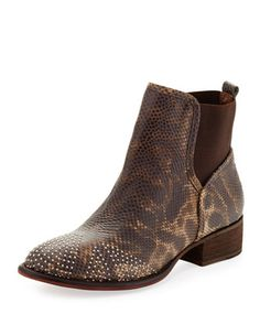 Pronto Metallic Stud Ankle Boot, Natural by Donald J Pliner at Neiman Marcus.