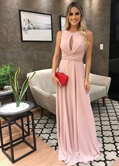Elegant A Line Round Neck Blush Pink Ruffled Long Prom Dresses, Key Hole Evening Dresses Bridesmaid Dresses, Prom Dresses, Formal Dresses, Wedding Dresses, Pink Party Dresses, Pink Parties, Mode Hijab, Look Chic, Dress For You