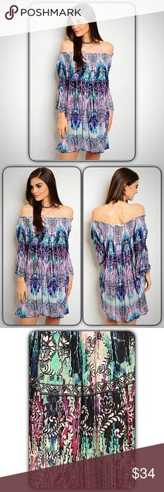 "Boho Chic Off the Shoulder Tunic Dress SMLXL Look amazing & be carefree in this super flowy boho chic tunic dress. Featuring an off the shoulder neckline & 3/4 flutter bell sleeves. A spring summer must have with flip flops, sandals or boots. Wear alone or pair with skinnies, leggings or capris. Runs relaxed & loose, very forgiving waist. 100% rayon. Lilac black green turquoise   Small will fit Medium Bust 32-36 Waist 50"" Length 31""  Medium will fit Large Bust 36-40 Waist 51"" Length 31.5""…"