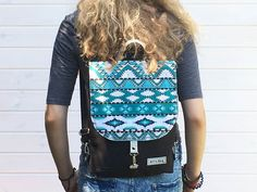 Handmade Canvas Backpack - Aztec Design