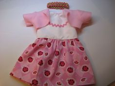 Doll Clothes Made for American Girl Dress/Jacket Pink Ladybug~Julie~Ivy~Kit