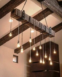 Wooden lamp, Ceiling Pendant Light, candelabrum (handmade) is part of Rustic Living Room Lamps - Lustre Industrial, Industrial Chandelier, Industrial Lighting, Kitchen Lighting, Industrial Chic, Chandelier Ideas, Vintage Industrial, Chandelier Lighting, Industrial Farmhouse