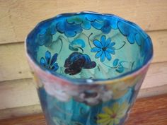 devez glass | ... SIGNE ROYO CZECH MOSER handpainted enameled clear blue glass VERRE