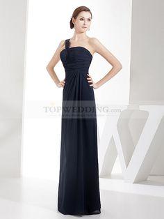 Draped One Shoulder Sheath Long Chiffon Bridesmaid Dress