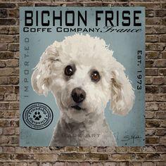 Bichon Frise Coffee Co. by BarkArtPortraits on Etsy https://www.etsy.com/listing/194409056/bichon-frise-coffee-co
