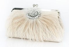 Champagne Bridal Clutch with Rhinestone and Ostrich by ANGEEW