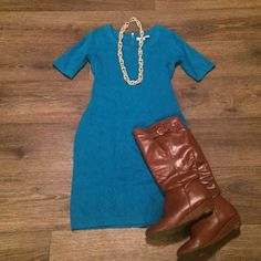 Sweater Dress Beautiful shade of blue with exposed gold back zipper. Sleeves hit above elbow. Very stretchy and comfortable. Cato Dresses Midi