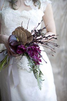 Dried Mushroom Twigs Fern Parrot Tulips And Anthirium Unusual Wedding Bouquet