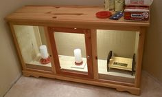 Brooder box made out of an old dresser.