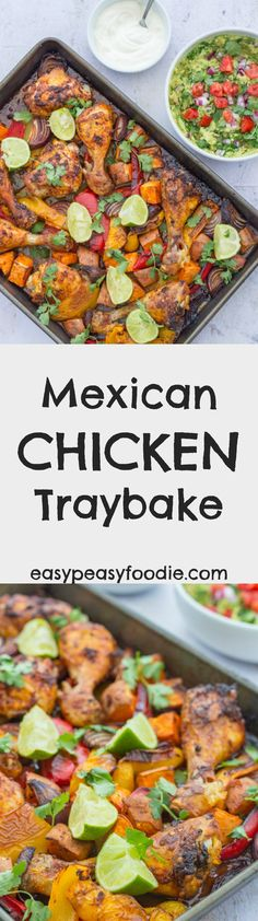 Fabulous crispy skinned roast chicken thighs and legs coated in a delicious Mexican style marinade together with roasted sweet potatoes, peppers and onions, this Mexican Chicken Traybake is so unbelievably simple to make but utterly delicious. Prepared in just 10 minutes and left to do its thing in the oven this easy one pan chicken recipe is ideal for busy evenings! #mexican #chicken #traybake #sweetpotatoes #onepan #easydinners #midweekmeals #easypeasyfoodie