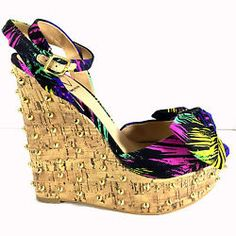 Penny Loves Kenny 7.5 M Sandal Studded Wedge Heel Multi Color Bow Vamp