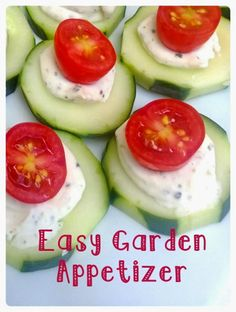 Quick and easy appetizer with cucumbers, cream cheese, and tomatoes perfect for backyard summer parties.