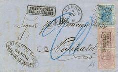 1869, Vittorio Emanuele II im oval, Gebührenmarke im Paar (obere Marke Mängel) und 20C blau (Sass. 26) auf Brief nach Neuchatel. Die Gebührenmarke wurde nicht akzeptiert und der Brief in der Schweiz nachtaxiert. Interessanter Beleg mit FA Terrachini. Dealer Honegger Michael Auction Auction Minimum Bid: 700.00 CHF
