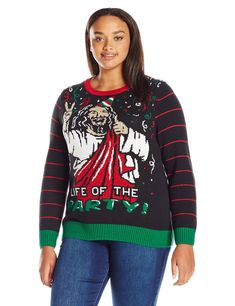 425ac6bde93c9 Fashion Bug Ugly Christmas Sweater Women s Size Life of The Party Plus