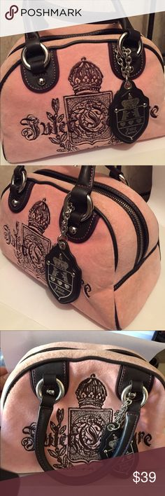 Juicy Couture Royal Rose Ladies Handbag Very cute Juicy Couture Royal Rose Velour Fabric and Leather Ladies Handbag. I have worn it a couple of times only, but the top ahows signs of discoloration. It is hardly noticed though. Juicy Couture Bags Satchels