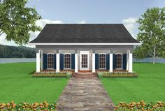 House Plan 036-00005 - Cottage Plan: 953 Square Feet, 2 Bedrooms, 1.5 Bathrooms