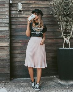 metallic midi skirt with graphic tee and newsboy cap and sneakers
