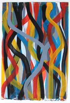 "Sol LeWitt (1928 - 2007) Squiggly Colored Lines I (a pair) each signed, Lewitt and dated, 96, lower right each gouache on paper each 11 1/2"" x 7 1/2"", The Cooley Gallery"