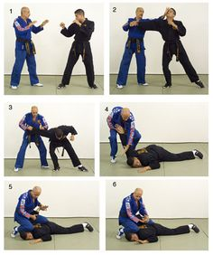 Combat hapkido founder John Pellegrini performs an armbar takedown and s-lock.