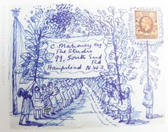 Evelyn Dunbar - Illustrated envelope to Charles Mahoney