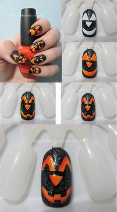 Halloween mani from http://www.kaylashevonne.com/2011/10/halloween-nail-art-tutorial-jack-o.html