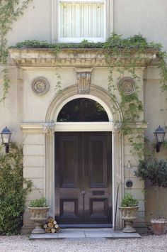 double door, green landscaping