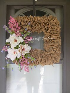 Magnolia Burlap Wreath/Door Wreath/Flower Wreath/Spring
