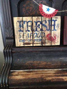 Vintage Style Seafood Sign by ShootingStarWorkshop on Etsy, $25.00