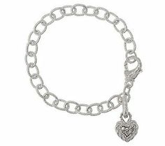 {@Judith Ripka Sterling Country Link Bracelet with Heart Charm}