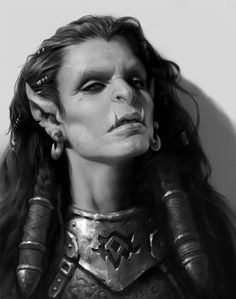female orc / ork cosplay with tribal hair decoration and armour portrait ideas for DnD / PAthfinder painting ideas for miniatures / ttrpg LRP outfit ideas Fantasy Races, High Fantasy, Fantasy Warrior, Fantasy Rpg, Dungeons And Dragons Characters, Dnd Characters, Fantasy Characters, Female Characters, Fantasy Portraits