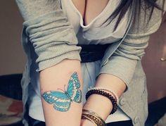 Borboleta, braço, azul