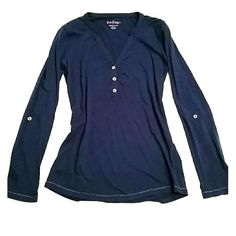 Lilly Pulitzer Navy Top Navy long sleeve tee with gold detailing and buttons on bodice and arms - can be made into a half sleeve. Small unnoticeable defect at neckline. Lilly Pulitzer Tops Tees - Long Sleeve
