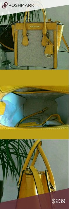 New Michael Kors Small Colette Messanger Bag Purse Brand New Hard to Find   100% Authentic  This shade pd yellow is so in style right now! Michael Kors Bags Totes