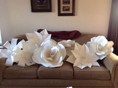 Paper card stock flowers I made for women's retreat.