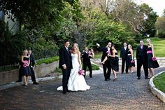 Black and Pink Wedding Party. Orrrr could do that fun multicolor idea!:)